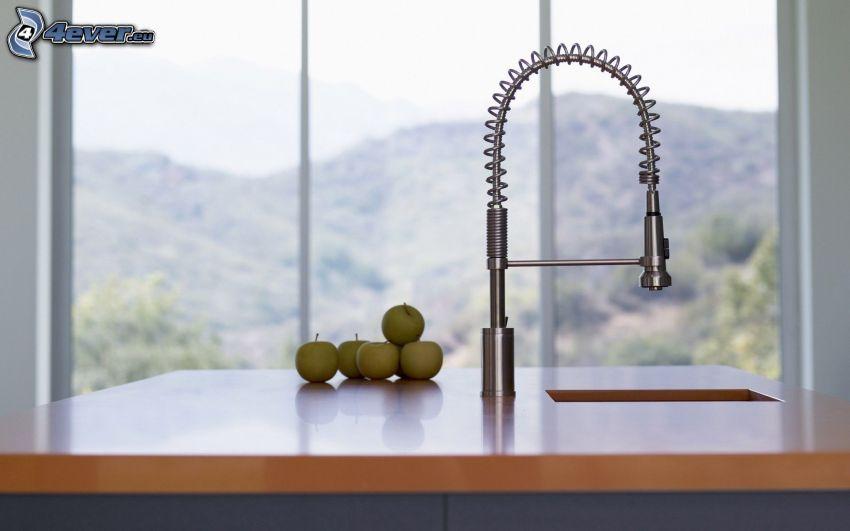 lavabo, cocina, manzanas verdes