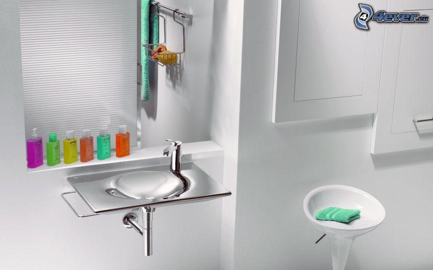 lavabo, silla, cuarto de baño