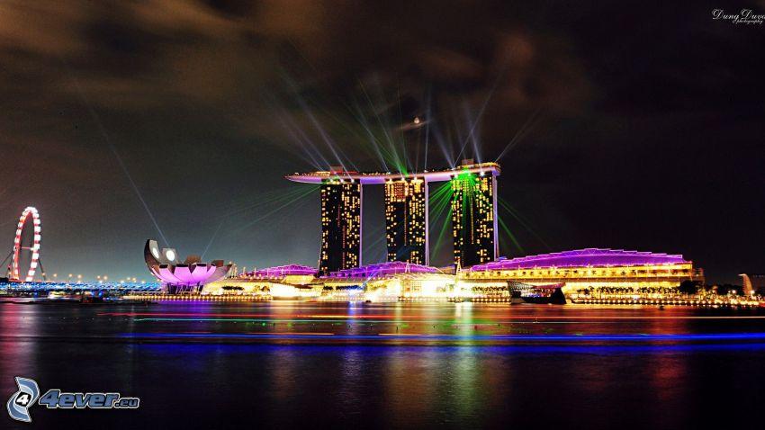 Marina Bay Sands, Singapur, luces, ciudad de noche