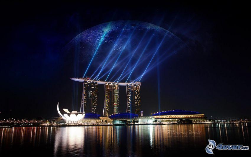 Marina Bay Sands, Singapur, luces, mar oscuro