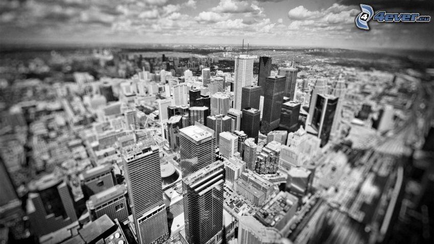rascacielos, blanco y negro, diorama