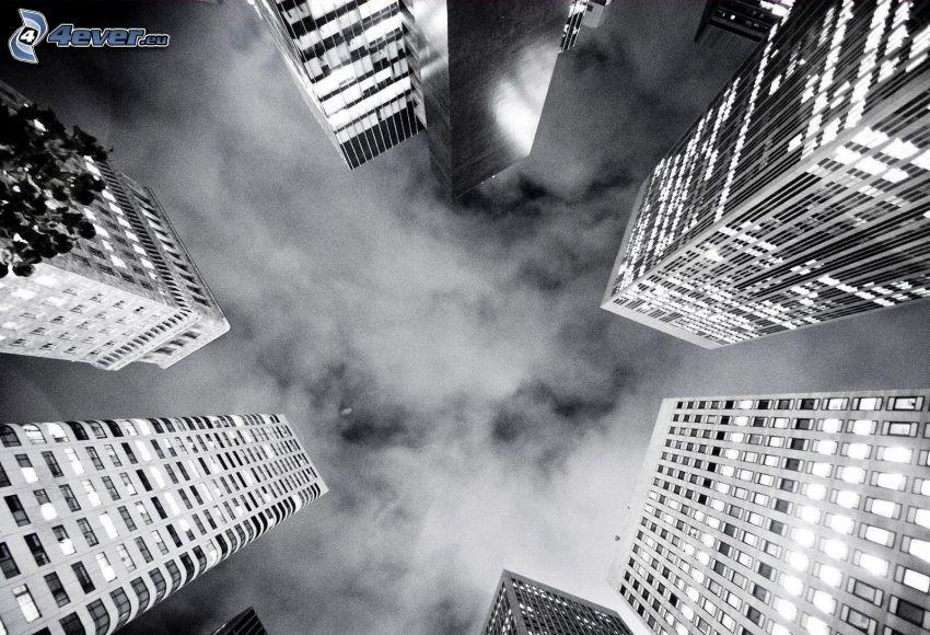 rascacielos, nubes, Foto en blanco y negro