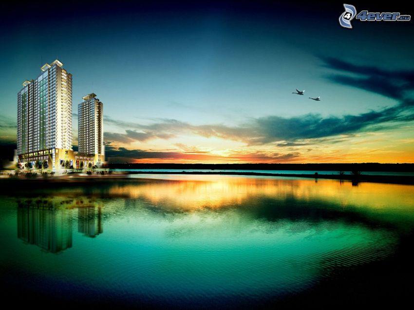 rascacielos, puesta de sol sobre un lago, patos
