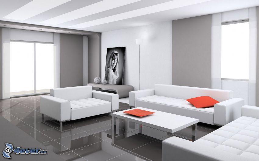 salón, asiento, dibujo