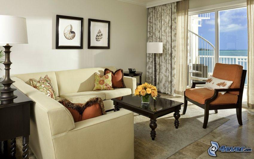 salón, balcón, asiento