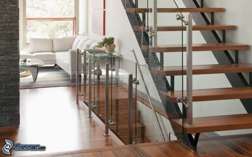 salón, escalera, asiento