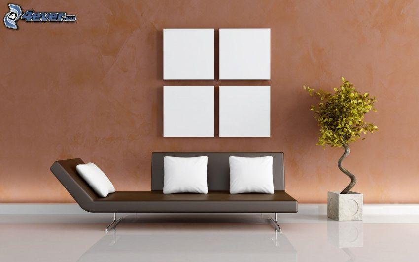 salón, sofá, almohadas, bonsai