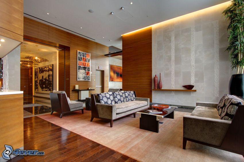 salón, sofá, asiento