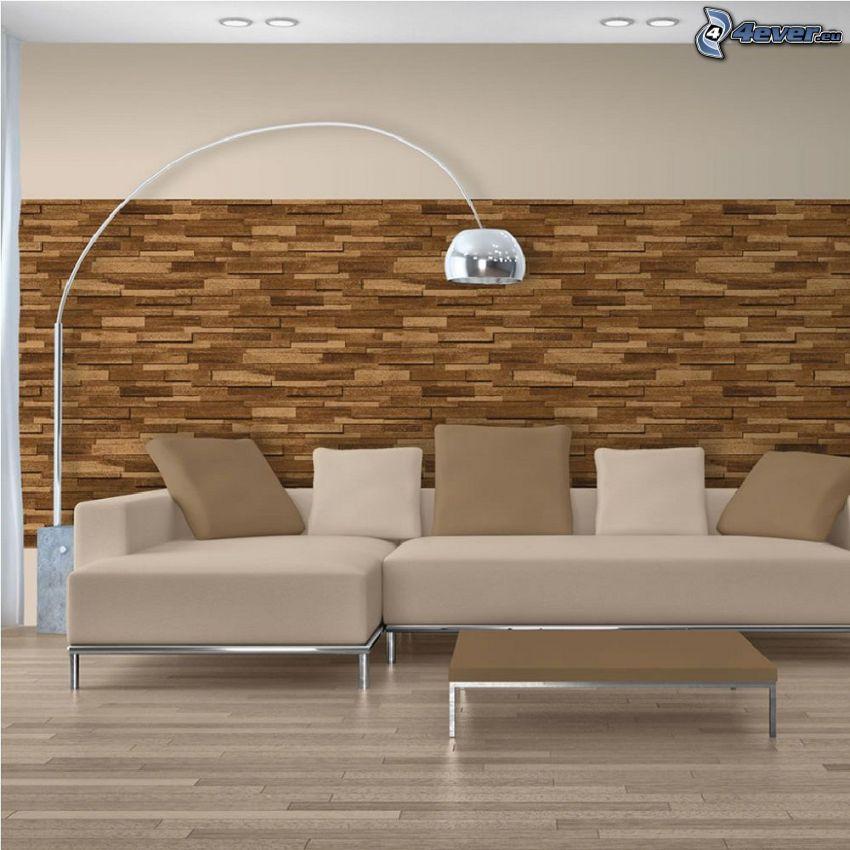 salón, sofá, lámpara, pared de madera