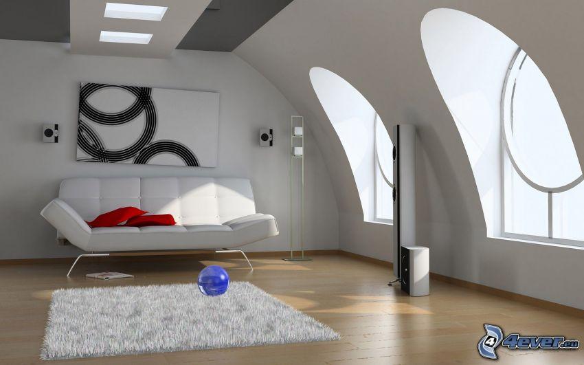 salón, sofá, ventanas