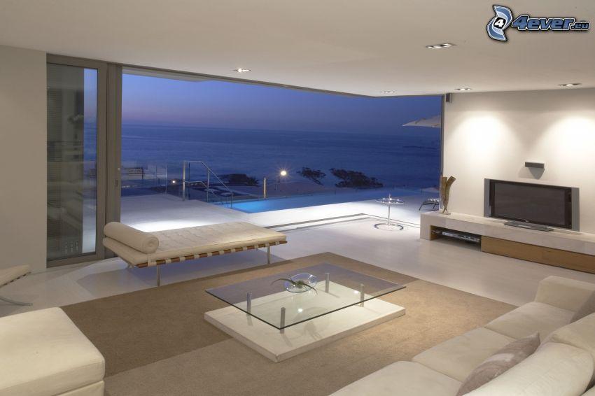 salón lujoso, vista al mar