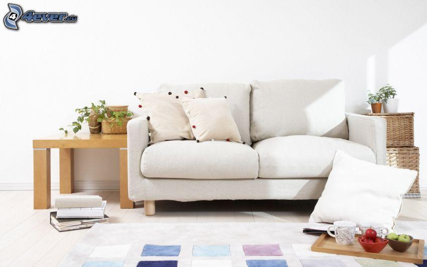 sofá, salón, mesita de noche