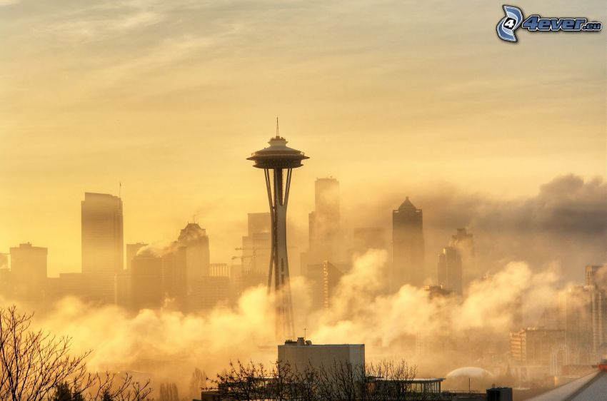 Space Needle, Seattle, rascacielos, nubes