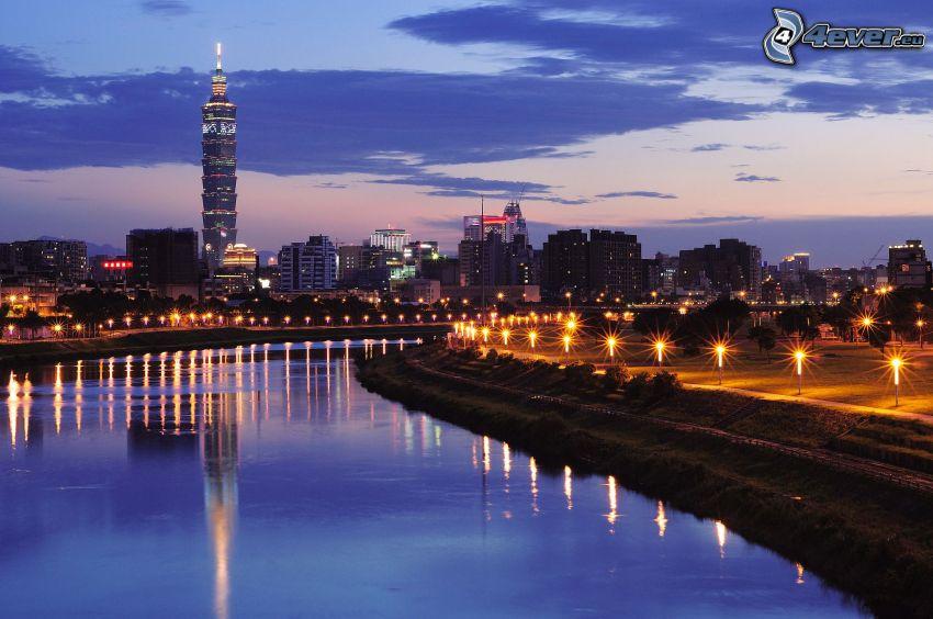 Taipei 101, río, atardecer, alumbrado público