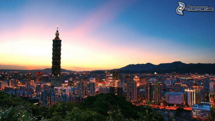 Taipei 101, Taiwan, vistas a la ciudad, puesta de sol sobre la ciudad
