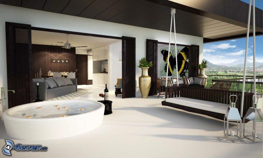 terraza, columpio, baño