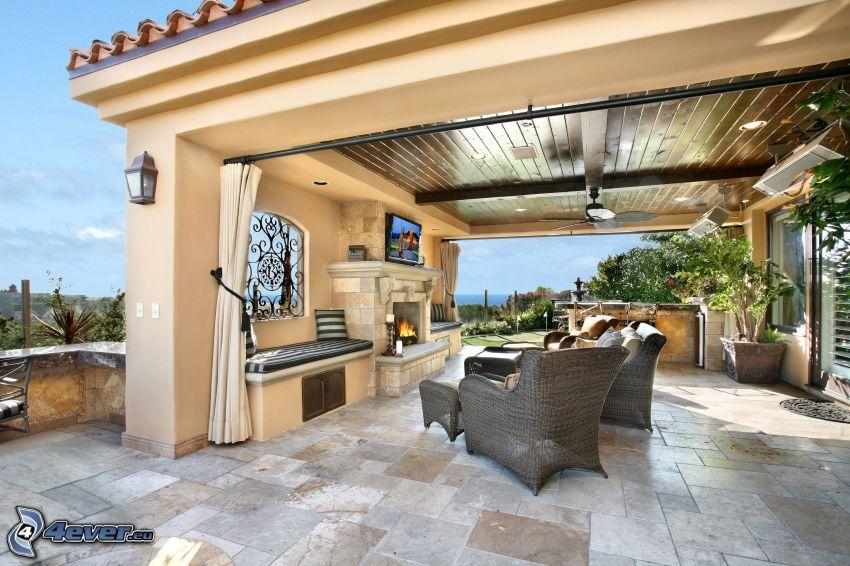 terraza, grill, sillas
