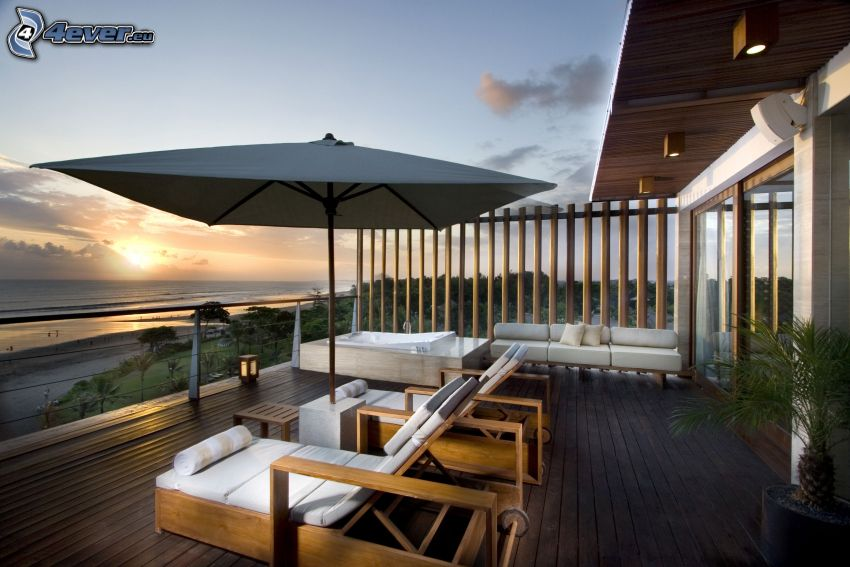 terraza, sillas, sombrilla