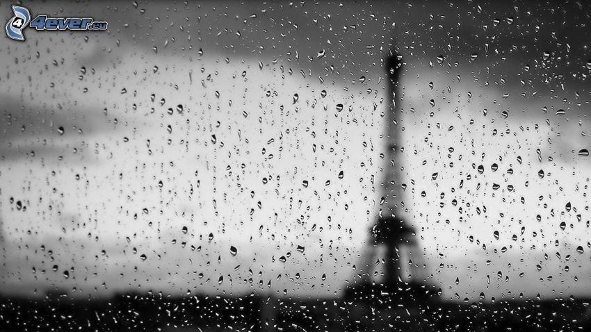 Torre Eiffel, gotas de agua, vidrio