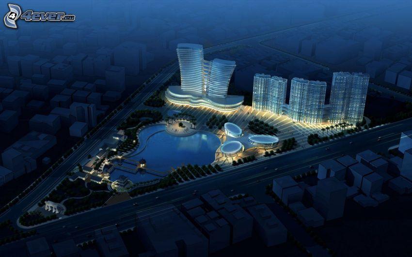 vistas a la ciudad, ciudad de noche, rascacielos, piscina