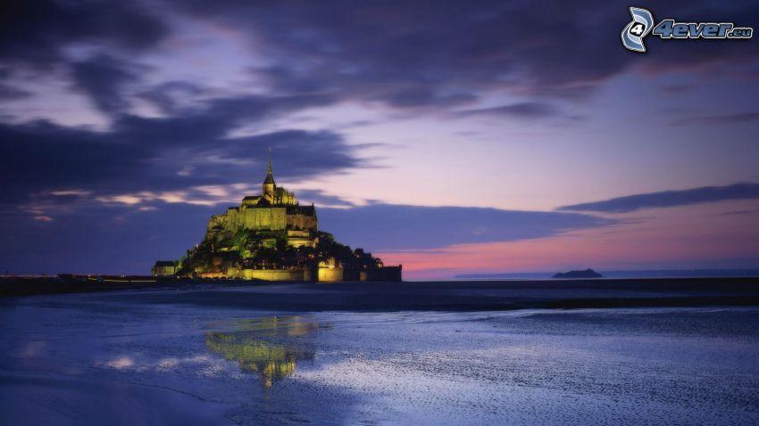 Mont Saint-Michel, castillo, abadía, Francia, lago, atardecer