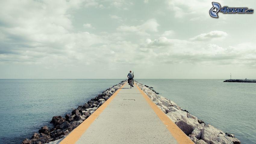 muelle, mar, ciclista, cielo