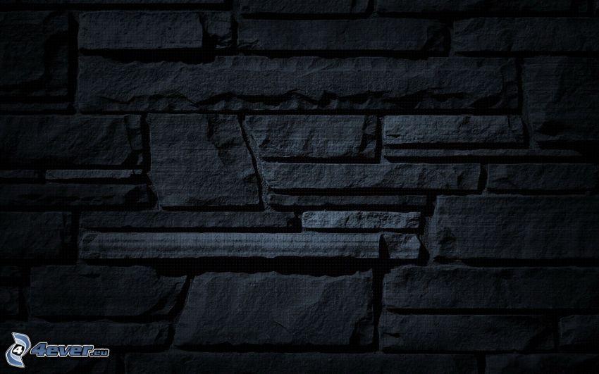 muro de piedra, fondo negro