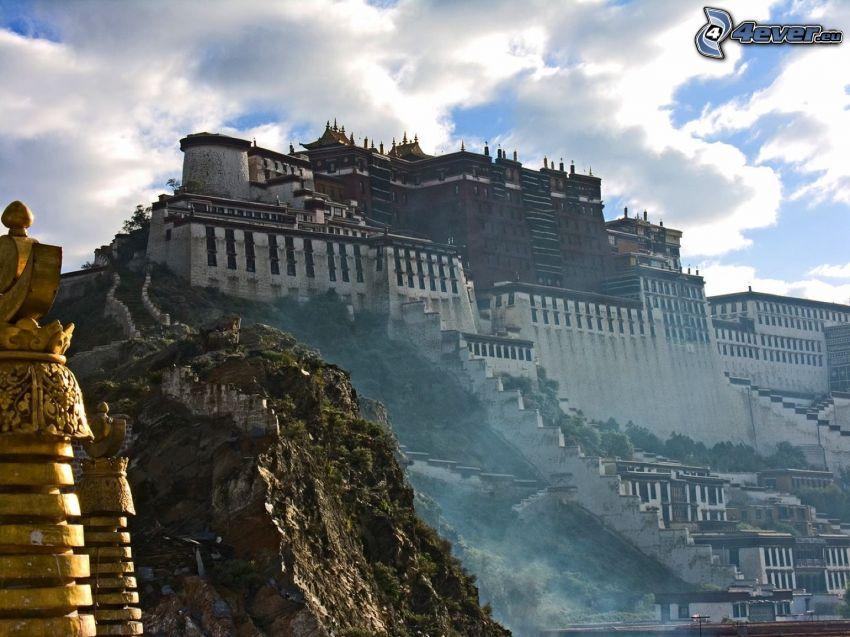 palacio, China, roca, nubes