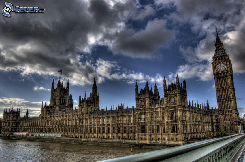 Palacio de Westminster, Parlamento británico, Big Ben, nubes, HDR