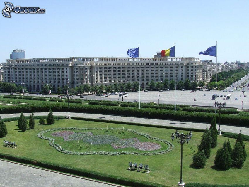 parlamento, Rumania, banderas, parque