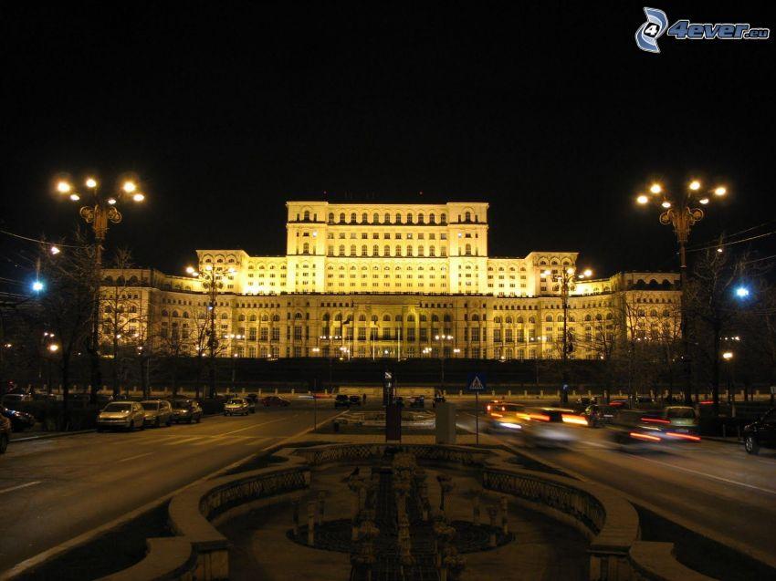 parlamento, Rumania, noche, iluminación