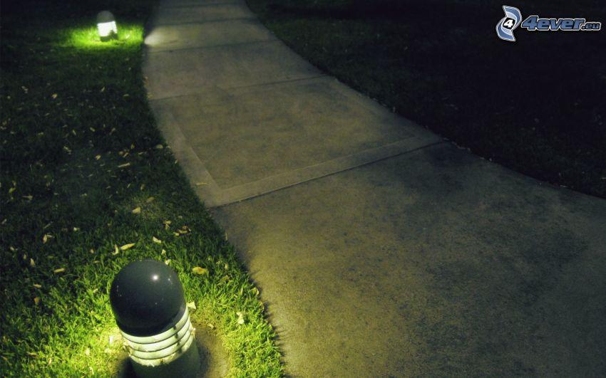 acera, luces, césped