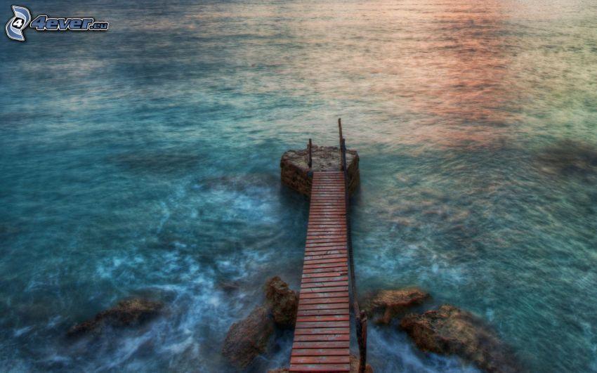 puente de madera, mar, HDR