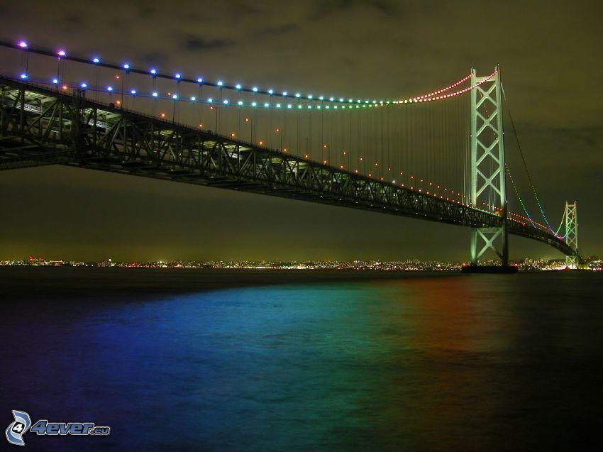 Akashi Kaikyo Bridge, puente iluminado