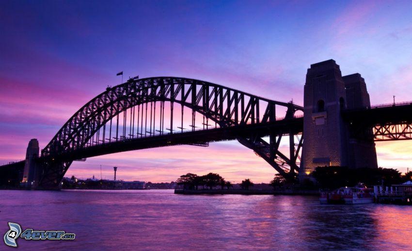 Auckland Harbour Bridge, después de la puesta del sol