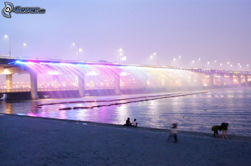 Banpo Bridge, costa, puente iluminado