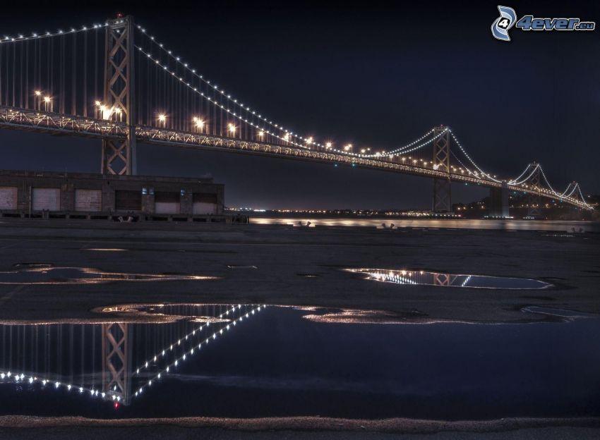 Bay Bridge, puente iluminado, noche