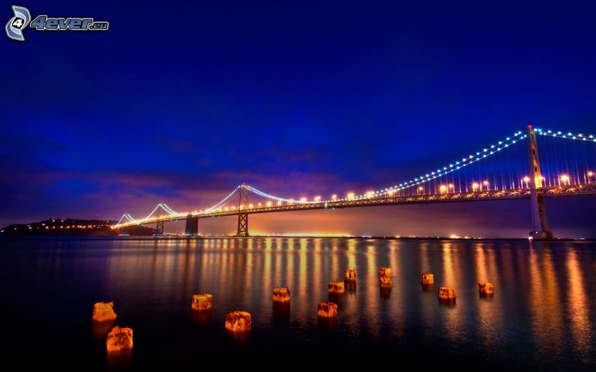 Bay Bridge, puente iluminado