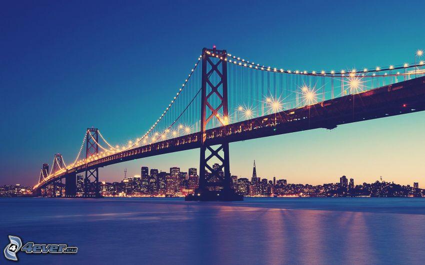 Bay Bridge, San Francisco, puente iluminado, Ciudad al atardecer