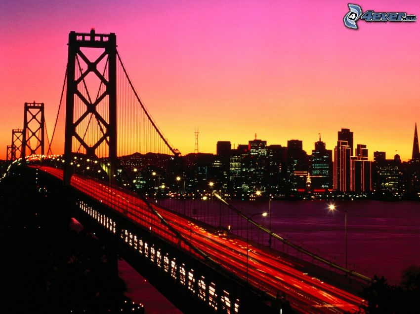 Bay Bridge, San Francisco, puente iluminado, luces, Ciudad al atardecer