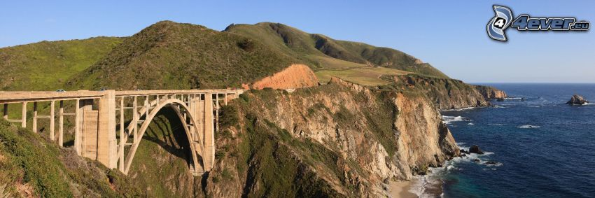 Bixby Bridge, acantilados costeros, Alta Mar