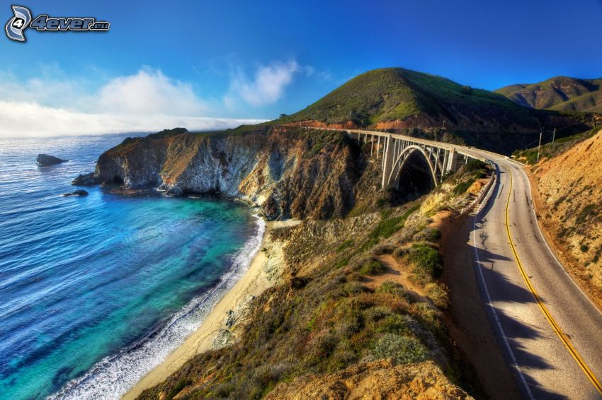 Bixby Bridge, acantilados costeros, mar, playa, colina
