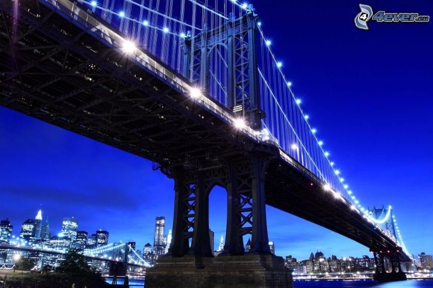Brooklyn Bridge, puente iluminado, ciudad de noche