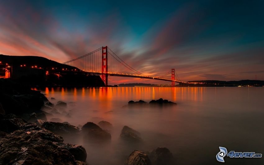 Golden Gate, río, atardecer