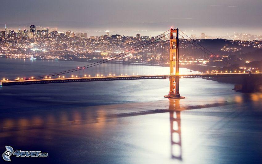 Golden Gate, San Francisco, ciudad de noche
