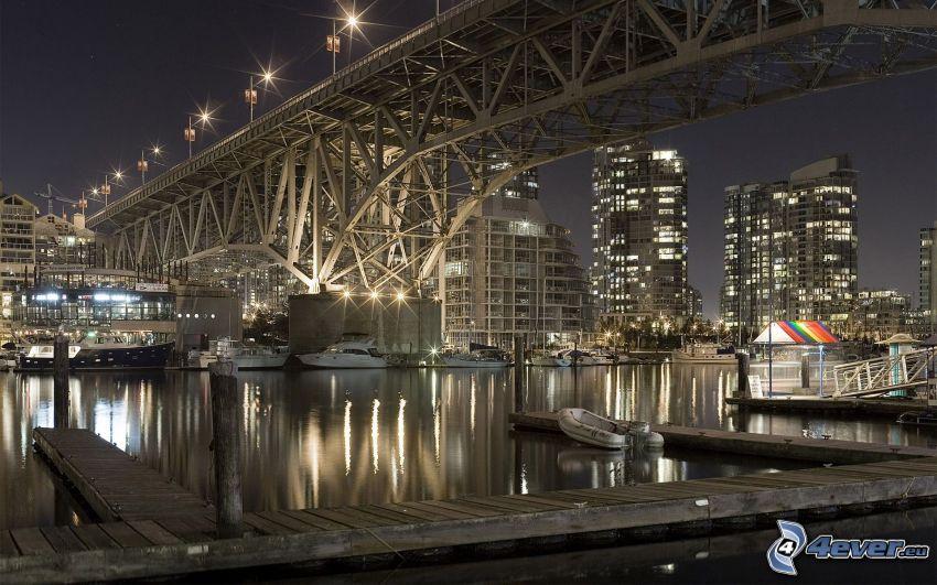 Granville Bridge, Vancouver, ciudad de noche