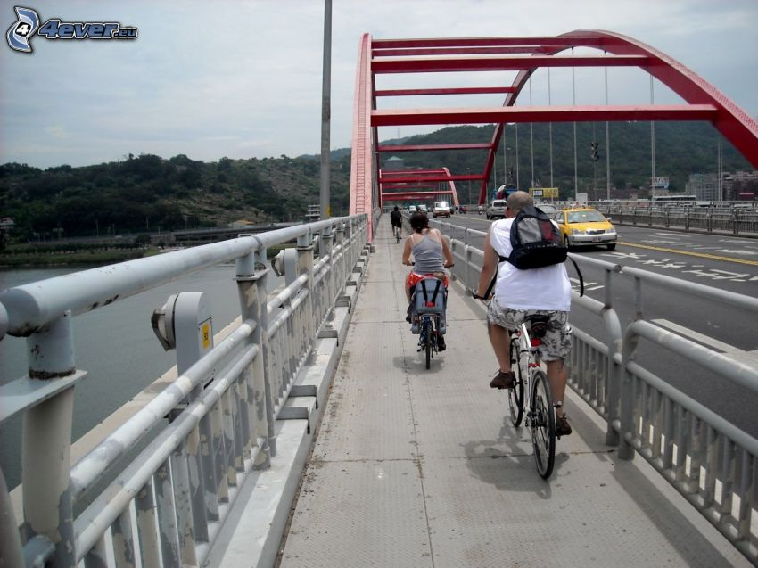Guandu Bridge, ciclistas