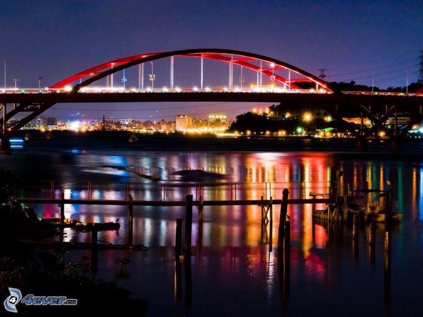 Guandu Bridge, puente iluminado, ciudad de noche