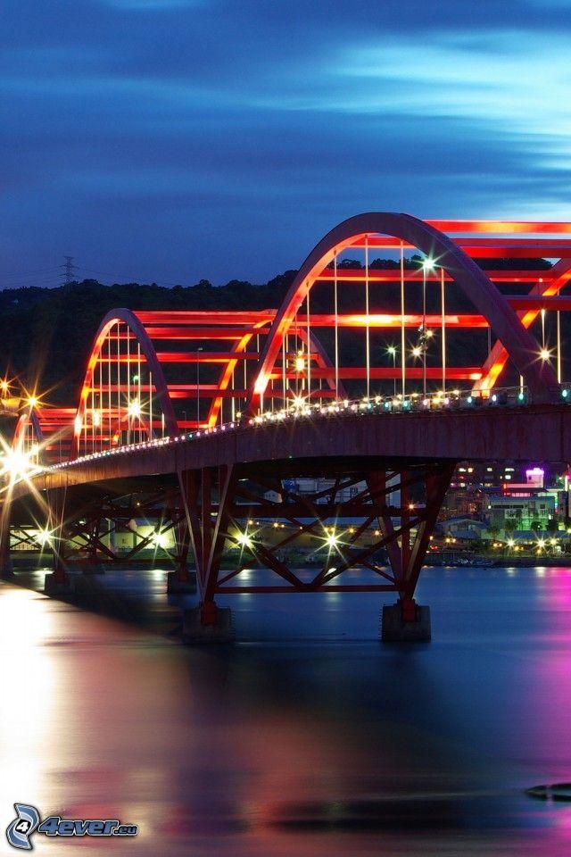 Guandu Bridge, puente iluminado