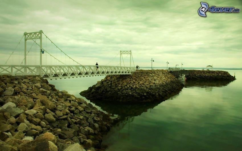 muelle, puente, mar